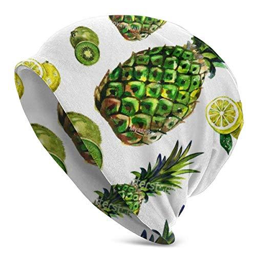 leyhjai Acuarela Verde piña limón Kiwi Sombrero de Punto Gorros Calavera Calva para Hombres Mujeres