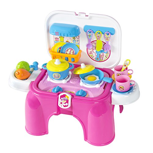 Best Choice Products Kids 25-Piece Portable Pretend Play Kitchen Cooking Toy Play Set w/ Lights and Sounds