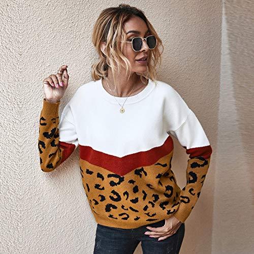 Moda Sudaderas Jersey Sweater Moda Leopardo Patchwork Señoras Suéter De Punto Mujeres Cuello Redondo Manga Completa Jerseys Top XL Marrón