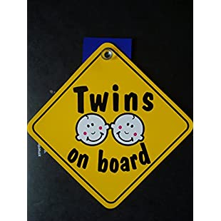 'Twins On Board Car Sign, Diamond Shape