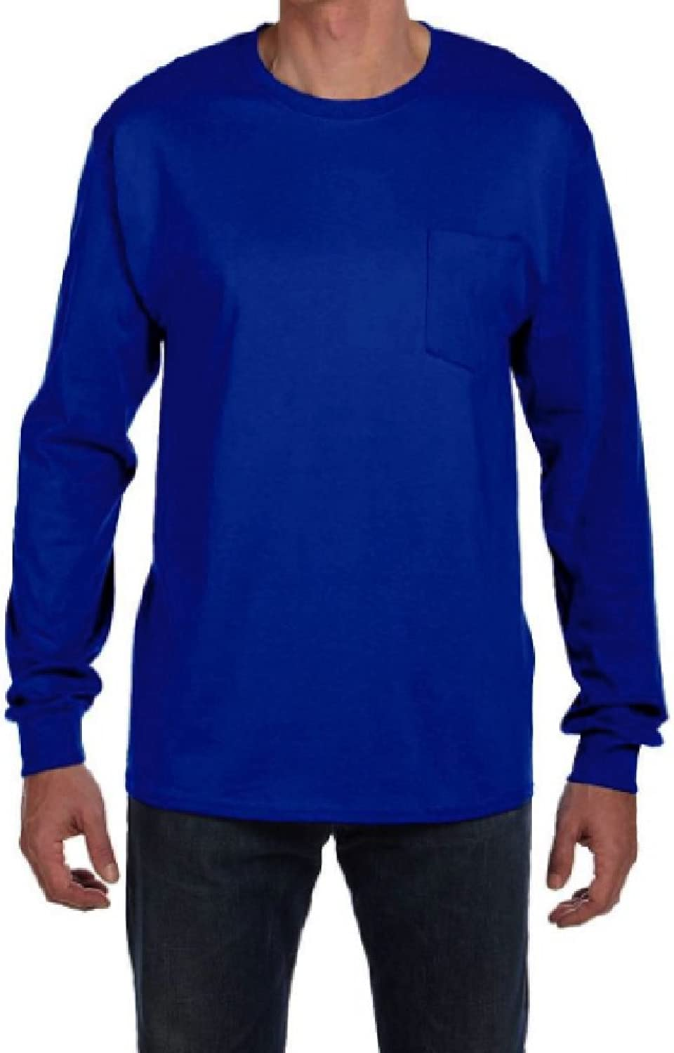 StoutMensShop Long Sleeve Big and Tall Beefy TShirts with Pocket in Vibrant colors USA Made