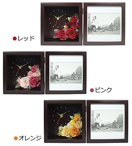 ◇生活日用品雑貨◇日本製プリザーブドフラワーピクチャーローズクロックMブラウンF-1907・レッド