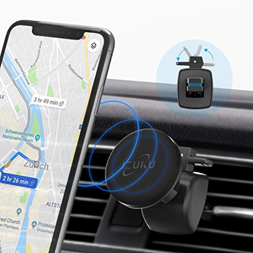IZUKU - Soporte magnético para teléfono de coche con rejilla de ventilación, imán para teléfono de coche con rotación de 360 grados para smartphones y dispositivos GPS