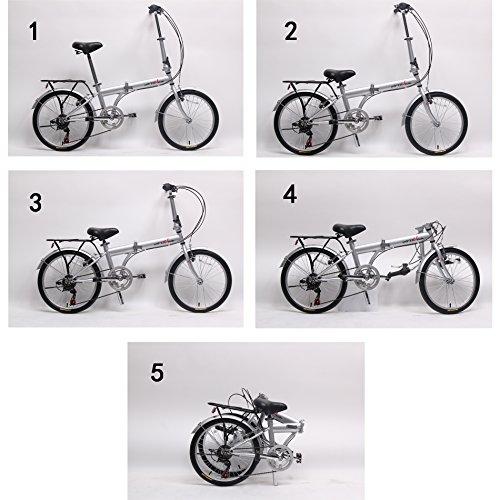 "IDS unYOUsual U Transformer 20"" Folding City Bike Bicycle 6 Speed Shimano Gear Steel Frame Mudguard Rear Carrier Front Rear Wheel Reflectors Silver"