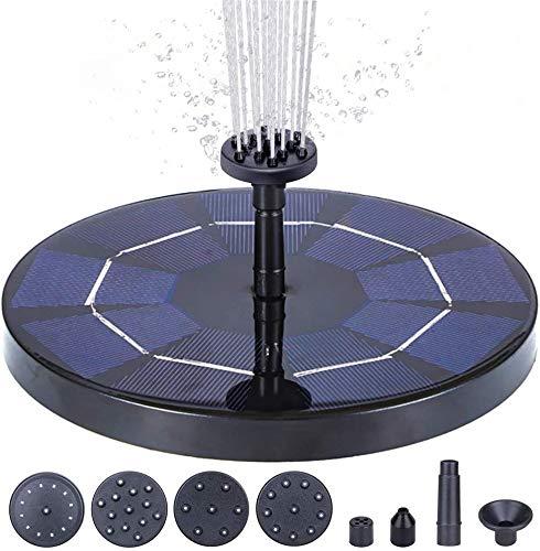 ANSGEC Solarbrunnenpumpe, 3,5 W Circle Solar Springbrunnen für Teich, Vogelbad, Brunnen, Gartendekoration, eingebaute Solar Panel Batterie, Wasserkreislauf, kein Strom erforderlich (6 Düsen)