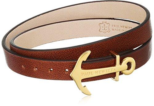 PAUL HEWITT Damen Wickelarmband North Bound aus Leder in Braun und Anker aus Edelstahl in Gold Armband-Länge 42,5 cm