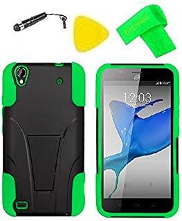 Heavy Duty Hybrid Phone Cover Case Cell Phone Accessory + Extreme Band + Stylus Pen + Yellow Pry Tool for ZTE Quartz Z797C 797C (T-Stand Black Green)