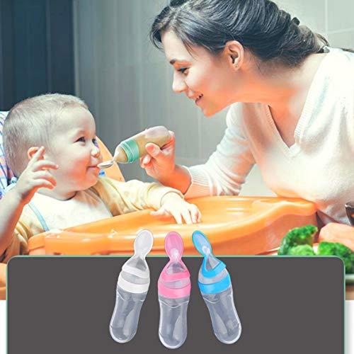 Biberón de silicona para bebés con cuchara Cuchara Alimentador de cereal de arroz 90ML Alimentador de leche fresca Herramientas de alimentación Rosa