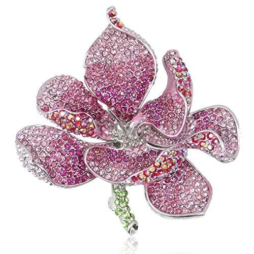 Broche de flor de orquídea Broche de mujer Clip de banda para el cuello Joyería de moda multicolor Pin de esmalte de oro púrpura Insignia Regalo-Rosa Plata, China
