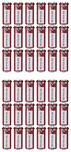Durable 195704Portachiavi (in plastica, 70 x 25 mm), 6 pezzi, giallo 36 Stück Rot