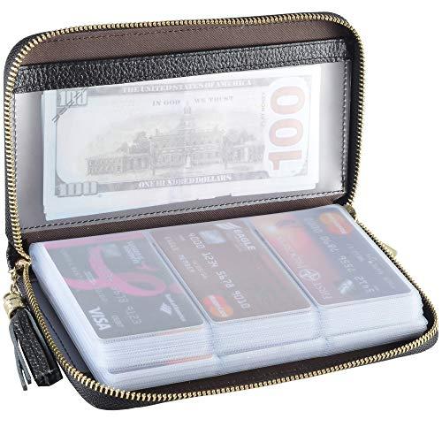 Easyoulife Credit Card Holder Wallet Womens Zipper Leather Case Purse RFID Blocking (Black)