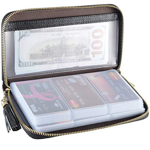 Easyoulife Credit Card Holder Wallet Womens Zipper Leather Case Purse RFID Blocking (Black)