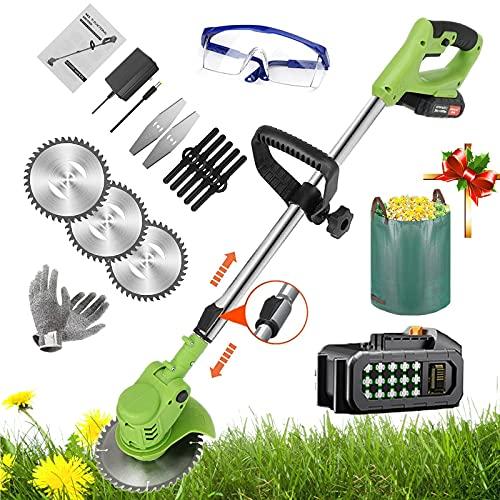 Freischneider Akku mit 2 akku und ladegerät, Motorsense mit Gartenabfallsack,, 36V 3 in 1 Akku Rasentrimmer mit 6.0Ah Akku Trimmer verstellbarer Teleskopstab, Zusatzhandgriffriff,Green 1 battery