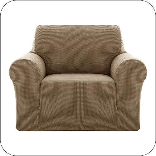 Amazon Brand - Umi Sofabezug Jacquard Sofaüberzug Stretch Sesselhusse Couchhusse Wohnzimmer 1-Sitzer Taupe