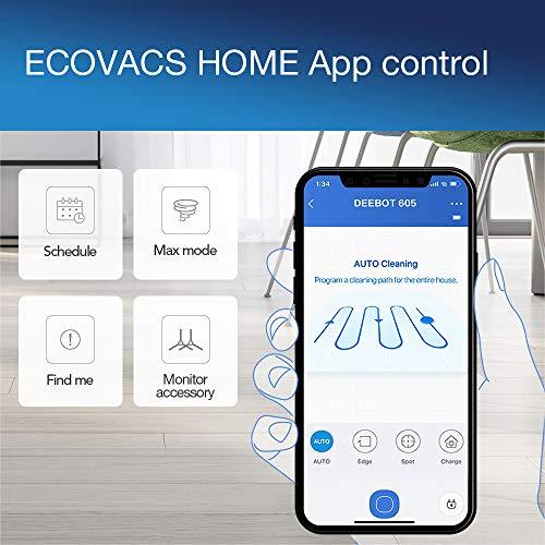 ECOVACS DEEBOT 605 – Aspirateur robot nettoyeur – Pour sols durs et tapis – Aspirateur sans fil programmable via smartphone et compatible avec Amazon Alexa