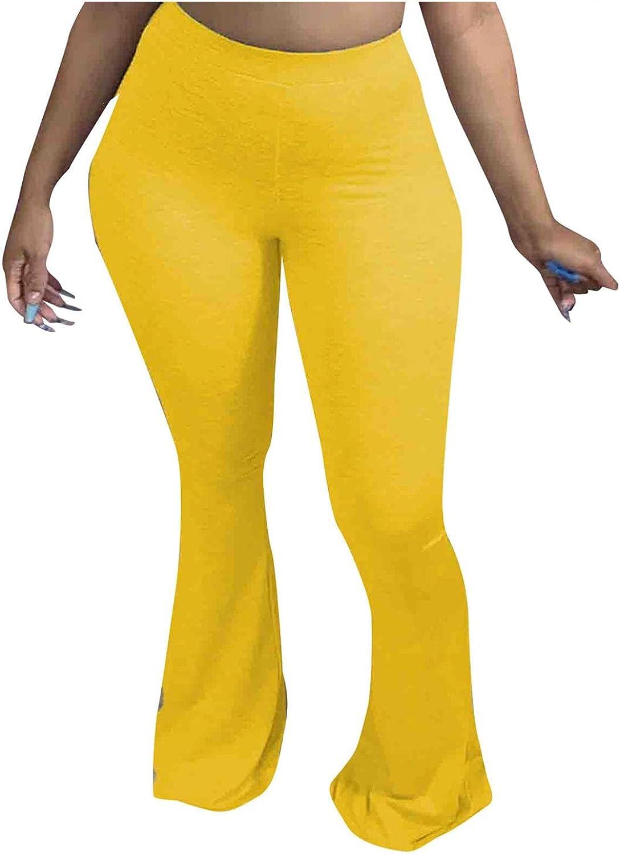 WUAI-Women High Waist Bootcut Yoga Pants Stretchy Wide Leg Palazzo Bell Bottom Flare Pants Plus Size