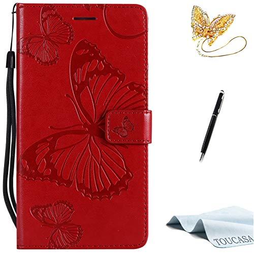 TOUCASA Custodia per Huawei P10 Lite, Huawei P10 Lite, in pelle PU, con scomparti per carte di credito [3D Butterfly] [farfalla 3D] tecnologia emossed per Huawei P10 Lite (rosso)