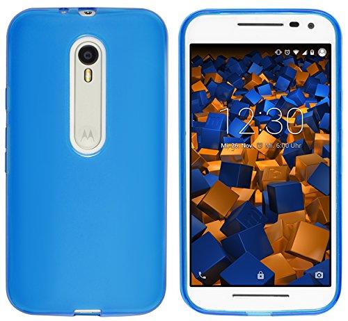 mumbi Hülle kompatibel mit Motorola Moto G3 Handy Hülle Handyhülle, transparent blau
