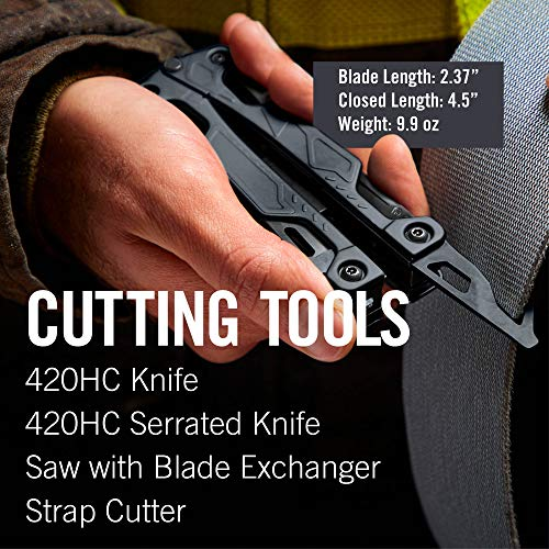 LEATHERMAN - OHT One Handed Multitool with Spring-Loaded Pliers and Strap Cutter, Black with MOLLE Brown Sheath