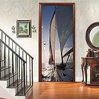 sesemao3Dインテリアドアベッドルームステッカードアステッカー防水粘着紙リビングルームベッドルームオフィスバスルームファミリーセーリングシップ-90 * 200