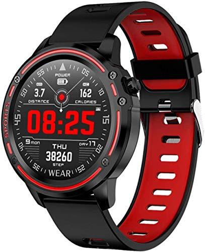 JIAJBG Reloj inteligente, reloj inteligente para hombres Ip68 impermeable reloj inteligente presión arterial ritmo cardíaco deportes fitness fácil de usar amarillo mejor regalo/rojo