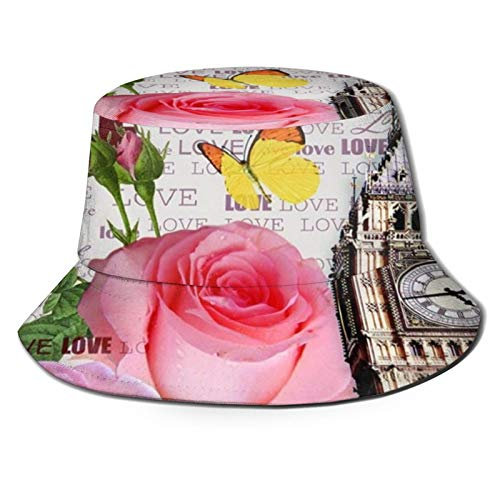 136 Felice Pasqua Big Ben di Londra con cappello di benna di rosa Outdoor Camping Fishing Cap