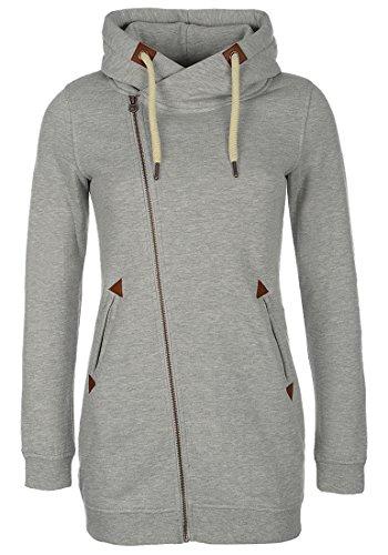 DESIRES Vicky Zip Hood Long Damen Lange Sweatjacke Kapuzenjacke Sweatshirtjacke Mit Kapuze Und Fleece-Innenseite, Größe:M, Farbe:Light Grey Mel (8242)