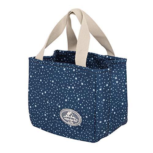 Süße Lunchtasche Mittagessen Tasche Thermotasche Kühltasche Isoliertasche Picknicktasche für Lebensmitteltransport für Büroangestellte und Schüler (Dunkelblau)