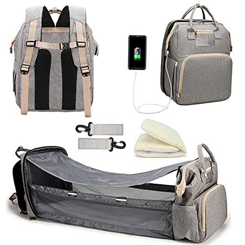 Diaper Bag Backpack Baby Bag with Changing Station Portable Mommy Bag Foldable Crib Large Capacity Multifunctional Mother and Baby Diaper Bag Baby Portable Backpack Bed Travel Backpack USB Port(Gray)