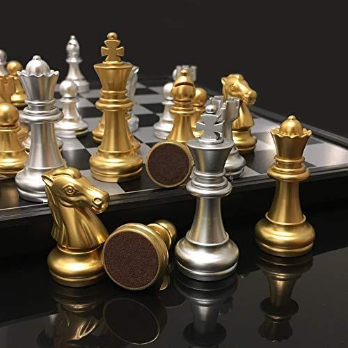 XHH Ajedrez Juego de ajedrez de plástico Medieval Piezas de ajedrez magnéticas Piezas de ajedrez Plateadas Doradas Juego de Tablero de ajedrez Plegable Navidad (Ejercicio de Pensamiento Intelectual)