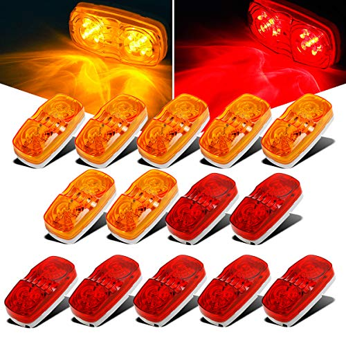 Partsam 14x Trailer Marker LED Light Double Bullseye 10 Diodes Clearance Light Red/Amber, 4x2 Tiger Eye / Double Bubble 12V Rectangular LED Side Marker Light Indicators Surface Mount RV Camper Trucks