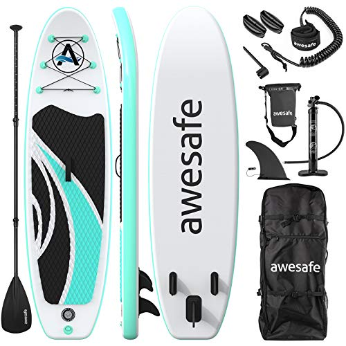 awesafe Inflatable Stand Up Paddle Board with Premium SUP/ISUP Accessories Including Backpack, Bottom Fin for Paddling, Paddle, Non-Slip Deck, Hand Pump, Leash (Green)