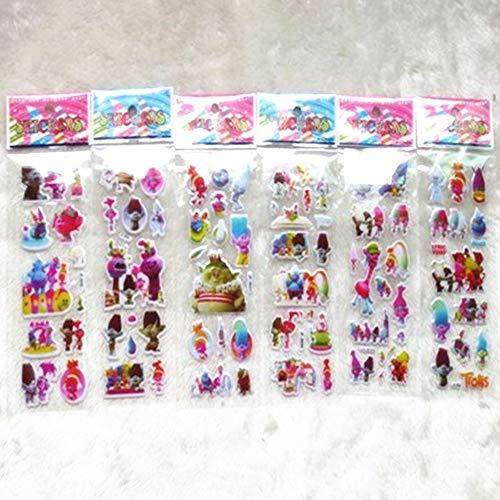 Paquete de pegatinas Etiqueta Engomada 60 Hojas Niños Dibujos Animados Plantas Zombis Bob Esponja Octonautas Trolls Toy Story Bubble Stickers Juguete Cute Baby 3d Sticker (Color : Trolls)