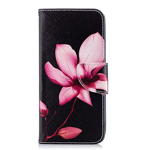 Uposao Kompatibel mit Handyhülle Huawei P20 Handytasche Handy Hüllen Flip Case Cover Schutzhülle Brieftasche Ledertasche Lederhülle Etui Klapphülle Kartenfächer,Rot Lotus Blumen