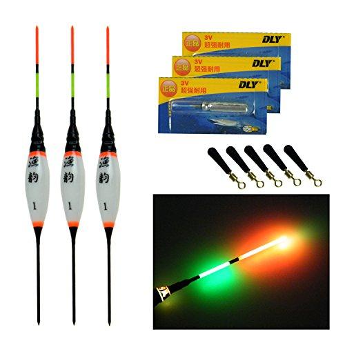 QualyQualy flotadores de pesca LED electrónicos, 0,8 g, 1,3 g, 1,8 g,...
