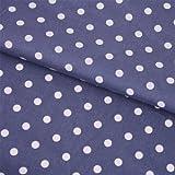 Hans-Textil-Shop Stoff Meterware Punkte 7 mm Weiß auf Grau