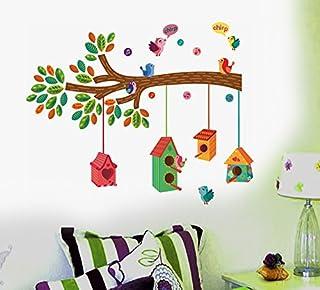 Decals Design ' Bird House on a Branch' Wall Sticker (PVC Vinyl, 70 cm x 25 cm, Multicolour)