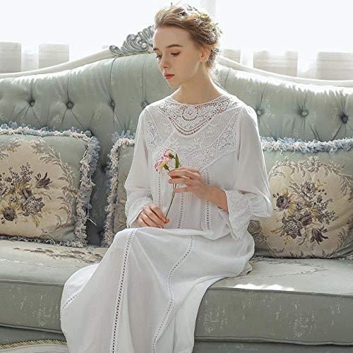STJDM Pyjama,Frauen Nachtwäsche Prinzessin Baumwolle Schlafrock Frau Langarm Spitze Französisch Court Retro Langes Nachthemd Elegant Romantisch XL Weiß