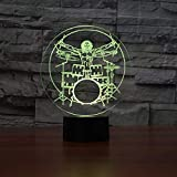 Drum Set 3d Illusion Night Light Rock Instrumentos musicales Led Night Lamp Desk Table Lamp 7 Color Changing Baby Sleeping Lighting