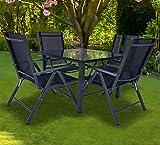 VCM Alu Sitzgruppe 80x80 Schwarzglas Gartenmöbel Gartengarnitur Tisch Stuhl Essgruppe Gartenset Tisch + 4 Stühle: Schwarz