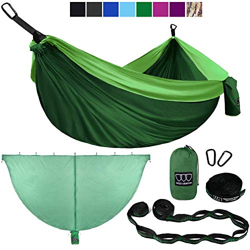 Gold Armour Camping Hammock and Bug Net Set - Double Parachute Hammock, 2 Tree Straps 32 Loops/20 ft...