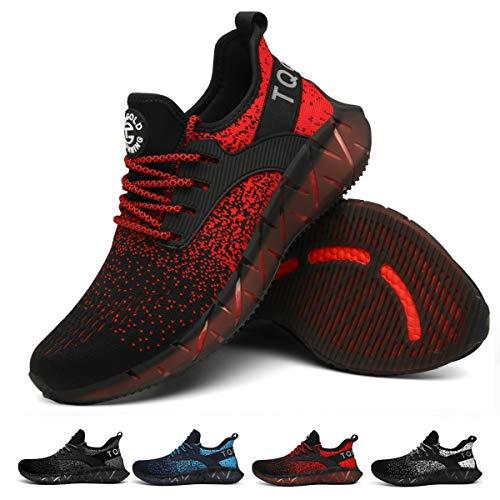 tqgold Sportschuhe Herren Damen Laufschuhe Turnschuhe Leichte Atmungsaktive Sneaker(Schwarz Rot,Größe 39)