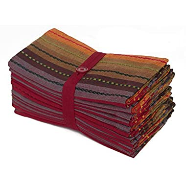 Cotton Craft 12 Pack Salsa Stripes Oversized Dinner Napkins - Red Multi - Size 20x20 - 100% Cotton - Tailored with mitered corners and a generous hem - Easy care machine wash