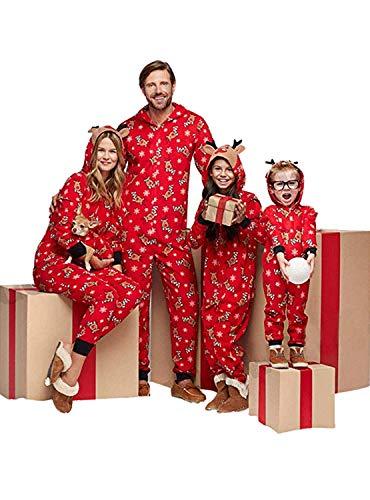 ELIA Kerstmis familie passende pyjama's kinderen volwassenen met capuchon overall Kerstmis elke gelegenheid nachtkleding Homewear print