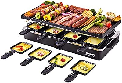 Raclette Table Grill Electric Indoor Grill Griddle Korean Bbq Smokeless Cheese Raclette Nonstick Reversible 2-In-1 Dishwasher Safe with 8 Paddles 8 Spatulas 1400W for 8 Person Hiteclife