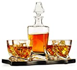 European Style Whiskey and Wine Twist Spiral Decanter with 4 Glasses and Wood Tray, Decanter - 855Ml Glasses 10 Ounces by The Wine Savant, Whiskey Decanter Set for Wine, Liquor, Scotch, and Bourbon