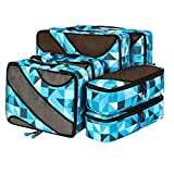 Bagail 6 Set Packing Cubes,3 Various Sizes Travel Luggage Packing Organizers(Geometry Blue)