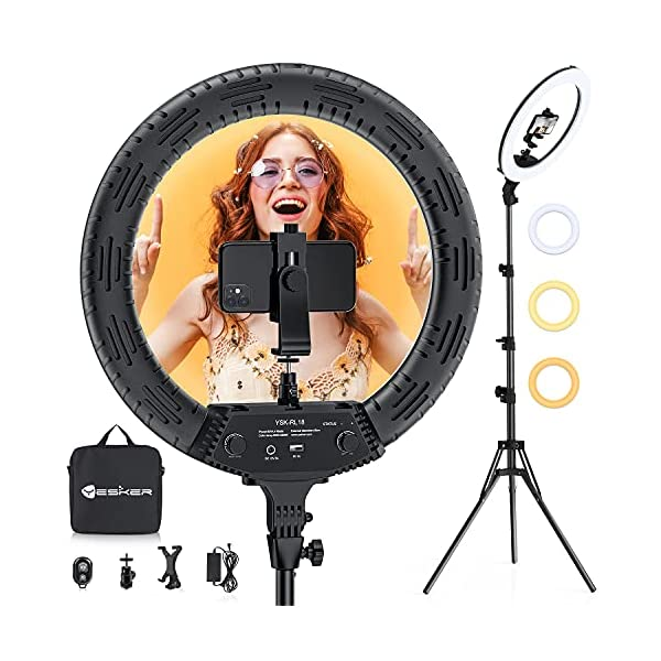 18 Inch Ring Light with Tripod Stand, Yesker LED Ringlight Color Temperature 3200K to 5500K Makeup Ringlights with…
