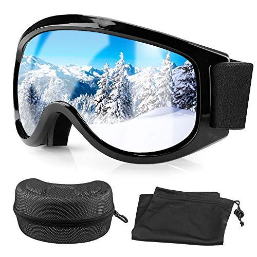 Migimi Skibrille, Ski Goggles UV Schutz Brillenträger Snowboard Brille, OTG Anti-Fog Anti-Schwindel Helmkompatible Augenschutz Skifahren Schutzbrille für Frauen Herren Jugend - Silber