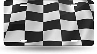 FunnyCustom License Plate Frame Checkered Flag Personalized Aluminum Metal Tag Holder Waterproof Decoration 12 x 6 Inch